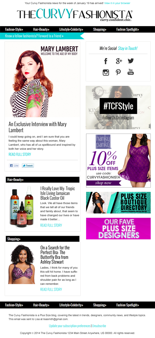The curvy fashionista mailchimp template design full service mailchimp template design with mobile scalable and rss feed integration pronofoot35fo Image collections