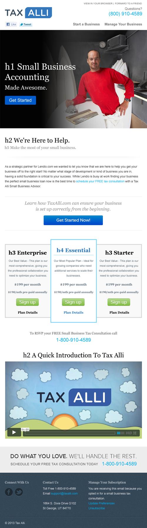 Tax Alli MailChimp Template Design Full Service Design Agency - Mailchimp template design